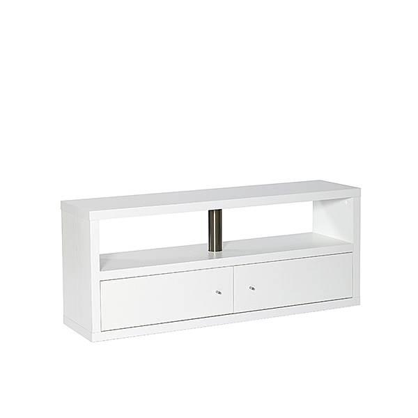Tv-bænk med 2 låger  -  hvid - B:130 cm