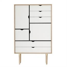 Andersen Furniture S5 reol - Eg sæbe - Hvide fronter