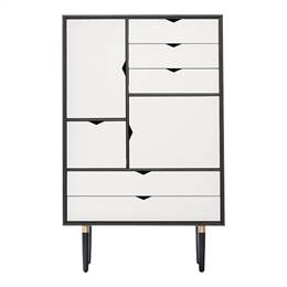 Andersen Furniture S5 reol - Sort - Hvide fronter