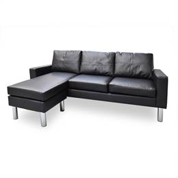 Lazy 3 pers. sofa med chaiselong - sort