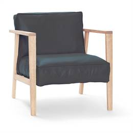 Andersen Furniture LC1 Loungestol - eg sæbe - sort læder