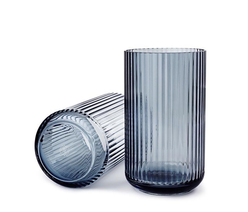 Fabriksnye Den originale Lyngby vase fra Lyngby Porcelæn, 25cm blå glas AS-05