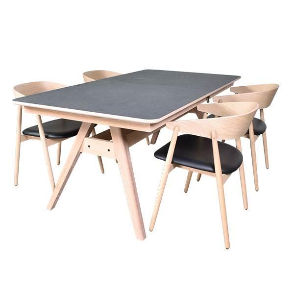 Skovby SM10 spisebord i eg og laminat m. 4 stk. spisebordsstole