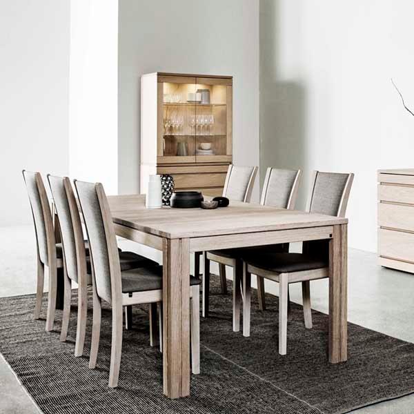 Skovby #24 spisebord + 6 stk. #64 spisebordsstole - hvidolieret eg - stoffarve: Rose 6910 - Brun