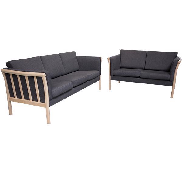 Denver sofasæt 3+2 grå stof ubehandlet eg