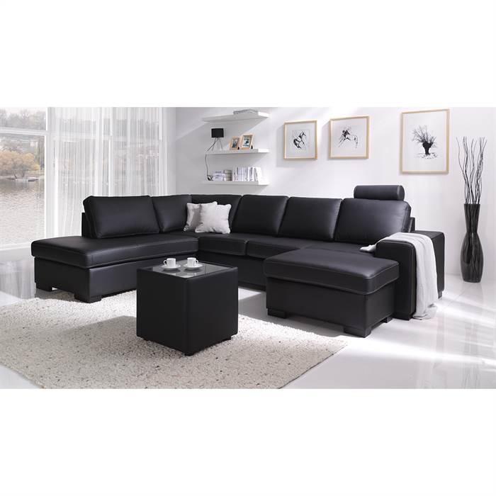 Køb Atlanta U-sofa med open-end og chaiselong – 100% okselæder – Højrevendt