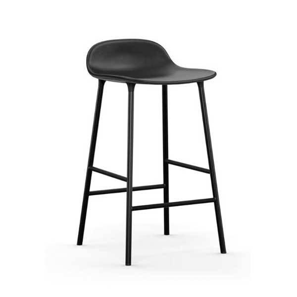 Normann Copenhagen Form barstol sort læderstålben