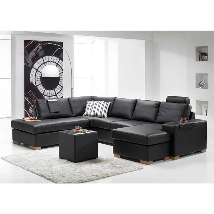 Køb Atlanta U-sofa med open-end og chaiselong – okselæder – Højrevendt